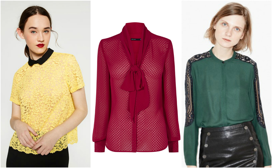 House Party Casual Blouse Shirt Outfit Girl Red Yellow Lace Green Model