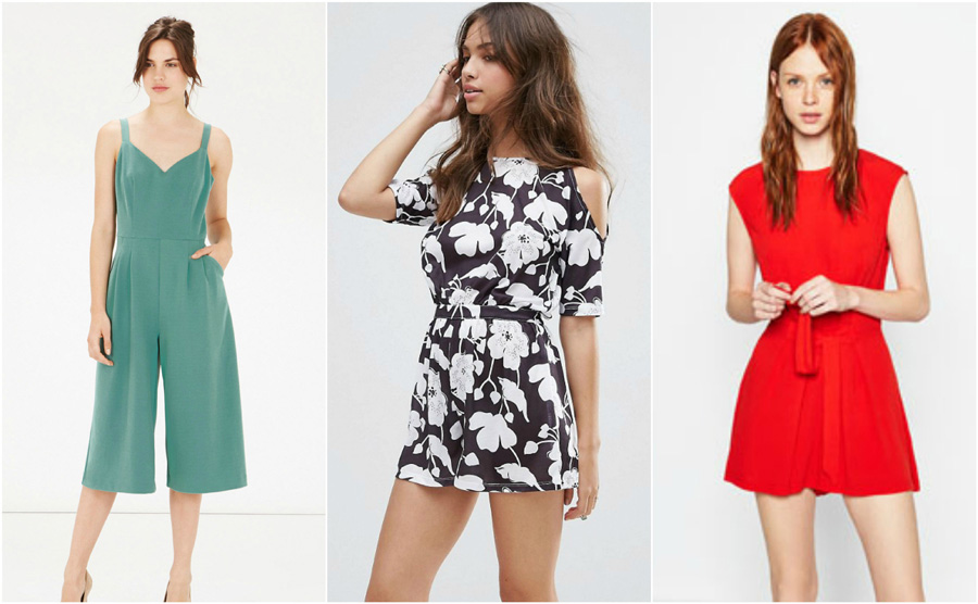 House Party Casual Playsuit Outfit Girl Red Culottes Floral Print Cold Shoulder Model
