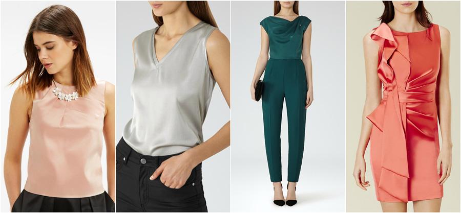 House Party Wear Blouse Shirt Fashion Formal Evening Shimmer Sheen Silk Satin Pleat