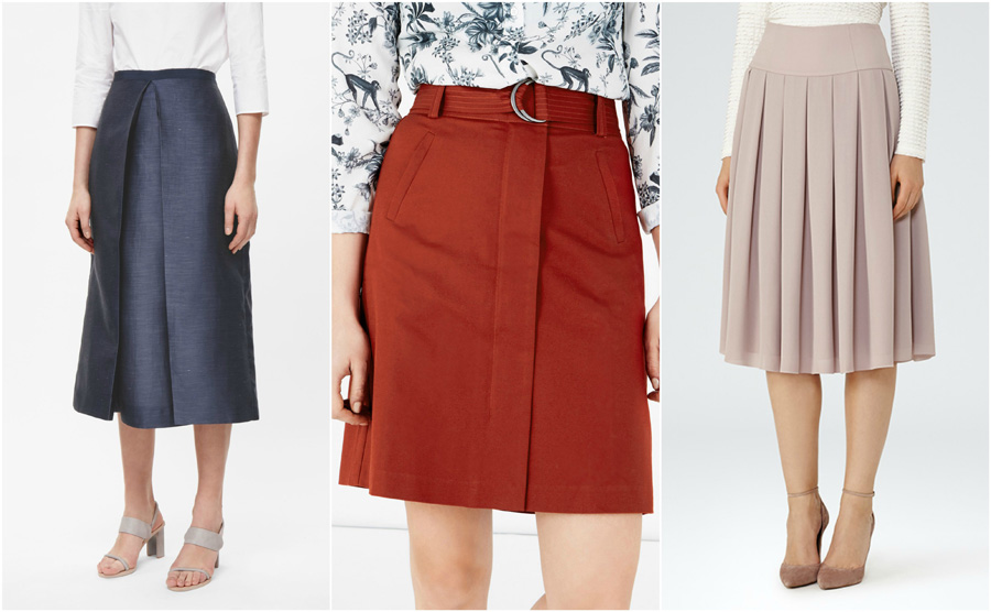 House Party Wear Skirt Fashion Formal Pleat Navy Orange Pink Mid