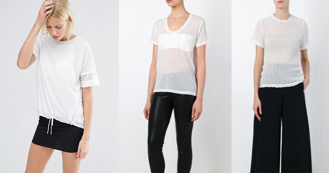 outfit grid sheer white t shirts women fashion