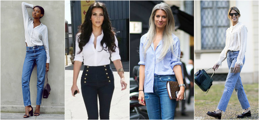 Shirt Smart Tucked Brogues High Waist Jeans Style Fashion Women Guide Street Celebrity Outfit Inspiration