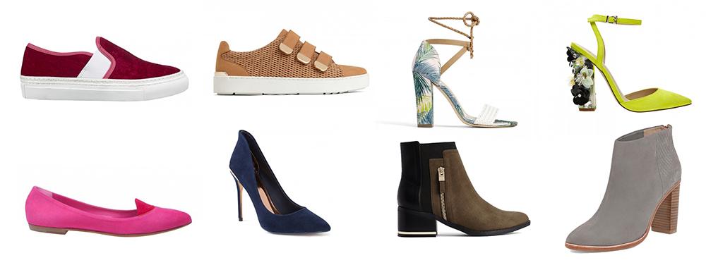 outfit grid womens shoes flats heels ankle boots sandals boyfriend jeans